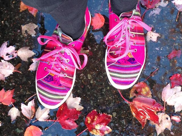 Bright sneakers bright leaves