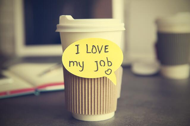 i love my job coffee cup
